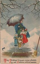 c1920s Wolf & Co Christmas Postcard — Snow Umbrella unsigned Clapsaddle