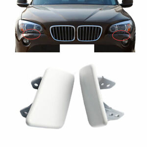 Pair Headlight Washer Spray Nozzle Cover Cap For BMW X1 E84 2009 2010 2011 2012