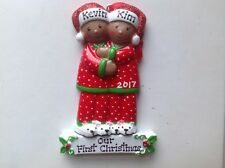 African American Pajama Couple Family of Two,  Personalized Christmas Ornament