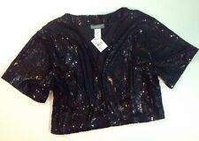 NEW ACCESSORY ST Sequin Dress Jacket Size M / L Med Large Shirt Black Coat Shrug