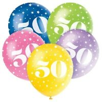 """5 X AGE 50 HELIUM QUALITY 12"""" LATEX BALLOONS PARTY DECORATION MIX 50th BIRTHDAY"""