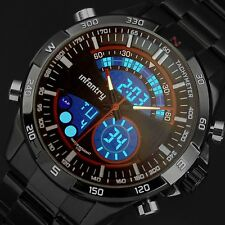 INFANTRY Mens LED Digital Quartz Watch Chronograph Black Stainless Steel Sport