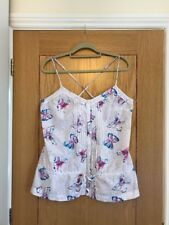 FAT FACE White Butterfly Print Camisole Strappy Cotton Top Size 16 - Worn Once