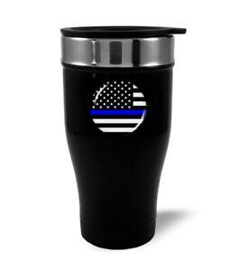 Thin Blue Line USA FLAG Stainless Steel BLACK Coffee Travel Mug Thermos 12oz