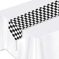 Black Checker Paper Table Runner Car Racing Birthday Party Decorations