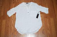 NWT Womens FYLO White Striped Roll Tab Long Sleeve Shirt Size M Medium