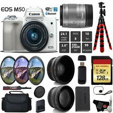 Canon EOS M50 Mirrorless Digital Camera (White) +15-45mm Lens + UV FLD CPL Filte