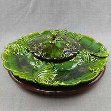 DeForest California Pottery Florentine Green Platter Tray With Lid Lazy Susan