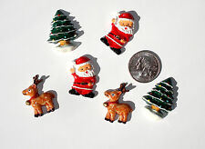 Christmas Santa Reindeer Trees Resin Flatbacks bows embellishment scrapbooking
