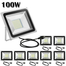 8X 100W Led Flood Light Cool White Outdoor Landscape Spot Lamp With Us Plug Ip65