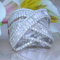 Luxury Women 925 Silver Jewelry Wedding Rings White Sapphire