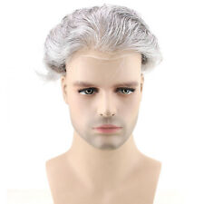 8x10 Mens Hairpiece Thin Skin Toupee Natural Black with 80% Grey Human Hair Wig