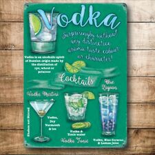 Vodka Cócteles Bebidas recetas Fiesta Bar Pub Club Mediano Metal Acero Signo De Pared