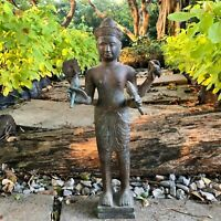 Collectible Buddhism Antique Buddha Statue Cambodia Khmer Bronze God Stand Decor