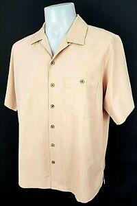 "CARIBBEAN Mens Pale Orange S/S SUMMER SHIRT Silk/Cotton - L - Chest 46"" - £59"