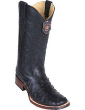 Los Altos BLACK Ostrich Square Toe TPU Rubber Sole Western Cowboy Boot EE+
