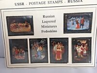 USSR 1977 Fedoskino Folk Paintings Soviet Union Russia 5 Postage Stamps Set