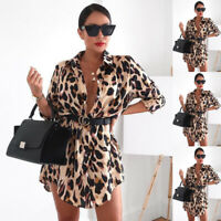 Women Ladies Loose Leopard Print Long Sleeve Top Blouse Shirt Short Mini Dress