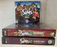Lot of 2 SIMS 2 Expansion Packs - Seasons and Open for Business PC Game