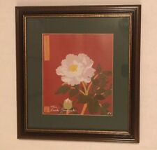 Oriental Asian Art Floral Print Japanese  Framed Matted Signed Ruriko Yamasaki