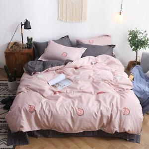 New Happy Strawberry Bedding Set Duvet Quilt Cover+Sheet+Pillow Case Four-Piece