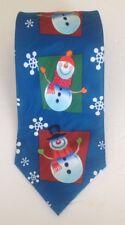 """KEITH DANIELS Blue Snow Man Snow Flake Christmas Necktie  60"""" L X 3.3/4"""" W"""
