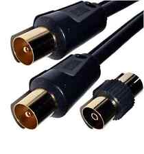 Coaxial Male to Male Extension Gold Digital TV Aerial Coax Fly Lead Plug Adaptor