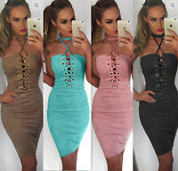 Bandage Bodycon Lace Up Cocktail Evening Party Pencil Midi Dress Womens Ladies