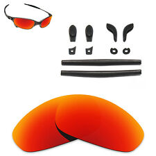 Hawkry Black Rubber Kits & Orange Red Replacement Lens for-Oakley Juliet