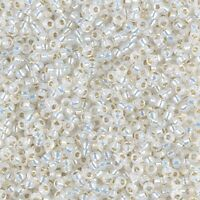 Miyuki Round Rocaille Seed Beads Size 11/0 24GM Gilt Lined White Opal 11-551-5