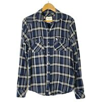 Abercrombie & Fitch M L/S Button Front Collared Flannel Shirt Navy Blue White