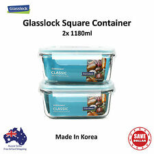 2x Glasslock Square Tempered Glass Food Container Storage Microwave Safe Set