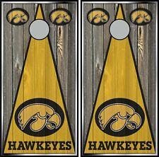 Iowa Hawkeyes woodgrain 0525 custom cornhole board vinyl wraps stickers
