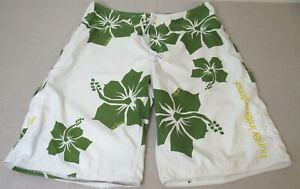 Hurley Men's White Green Hawaiian Floral Mesh Lined Swim Board Shorts Size 36
