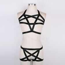 Fashion wear fetish Strappy body harness cage bra top Black women lingerie New
