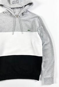 Lacoste Men's Hoodie Regular Fit Grey Black Colour Block Pullover SH6900-00-P0F