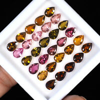 30 Pcs Natural Tourmaline Finest Quality Multi Color Loose Gemstones Lot 7mm/5mm