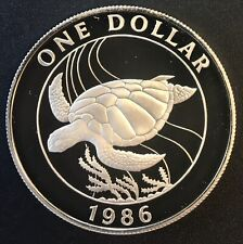 Bermuda - Silver 1 Dollar Coin - Turtle - 1986 - Proof