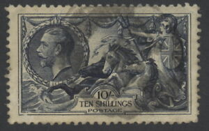 Great Britain 224 used w/pmk - 10 shillings sea horses stamp GeoV (re-engraved)