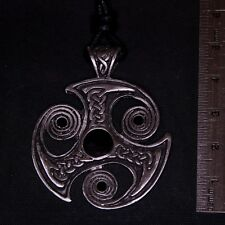 Round Irish Cross Pewter Pendant Necklace gothic celtic knot pagan feeanddave