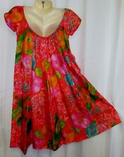VTG 60s/70s XXS Hawaiian Shop Dress Waltah Clarkes Pink Floral Scoop Back MuuMuu