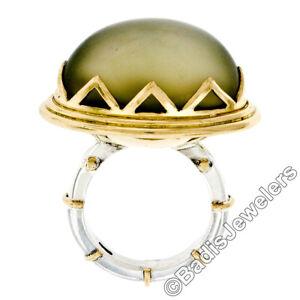 Vintage 18k Gold & Silver Cabochon Moonstone Fancy Prong Set Large Cocktail Ring