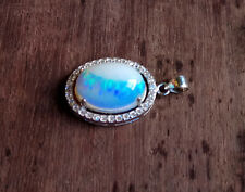 Solid Ethiopian Welo Fire Opal Pendant, 6.90ct Stone, 92.5% Pure Silver Setting