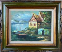 VINTAGE ORIGINAL OIL PAINTING LANDSCAPE WITH COTTAGES AND BOATS