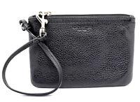 Genuine Coach Women Leather Corner Zip Wristlet Purse Black