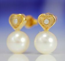 10K Solid Gold Frosted Heart with GENUINE Freshwater Pearl and CZ Earrings