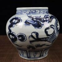 7.4 inches China old Blue and white porcelain Dragon pattern jar