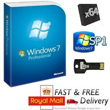 Windows 7 Pro 64-bit SP1 Full Version & License COA Product Key on USB