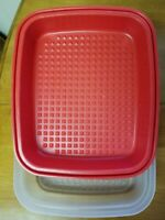 VTG TUPPERWARE LARGE SEASON N SERVE MARINADE RED CONTAINER