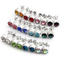 Pair Stainless Steel Crystal Birthstone 6MM Round Mens Womens Ear Stud Earrings